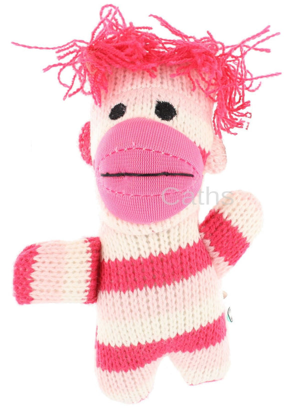 Pocket Sock Monkey Key Chain Pink - Caths Direct