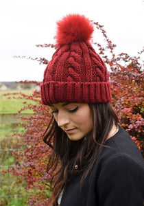 Carla Cable Knit Pom Pom Hat Red - Caths Direct