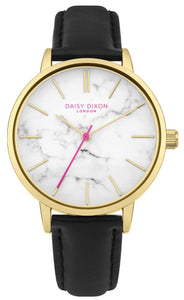 Daisy Dixon Nancie Ladies Gold Tone Watch Marble Effect Dial Black Strap - Caths Direct