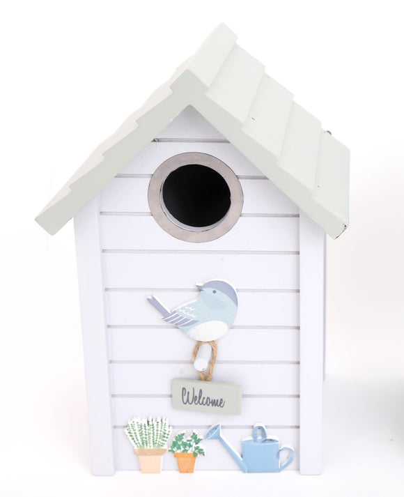 Painted Grey Wooden Bird House with a Green Roof