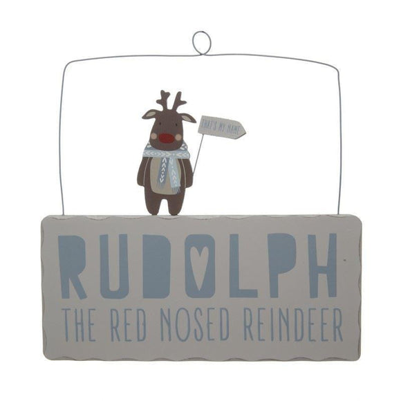 Hanging Rudolph the Red Nosed Reindeer Sign - Caths Direct