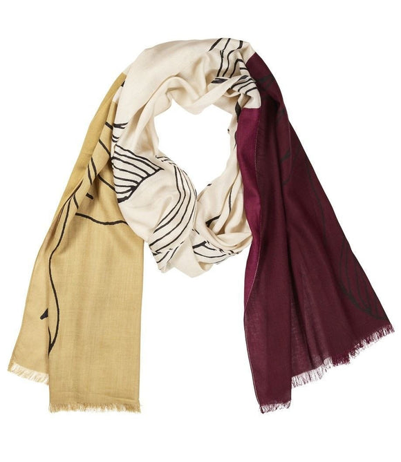 Quintessential Ladies Sketch Scarf Wine & Mustard - Caths Direct