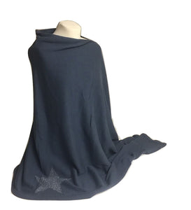 Ladies Cara Petrol Grey with Silver Star Poncho - Caths Direct
