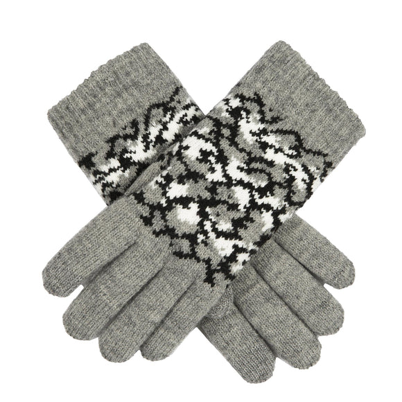 Dents Knitted Grey Gloves Reptile Pattern Touchscreen Technology - Caths Direct