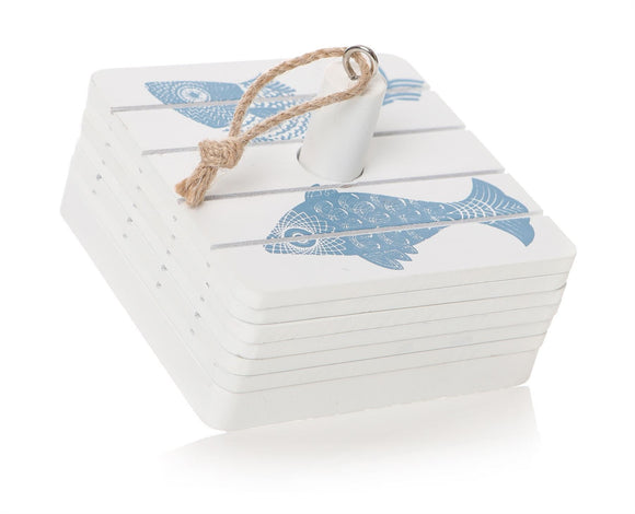 Square Fish Design Coaster Set of 6 on Stand - Caths Direct