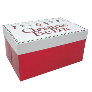 Folded Christmas Eve Red Box White Lid - Caths Direct