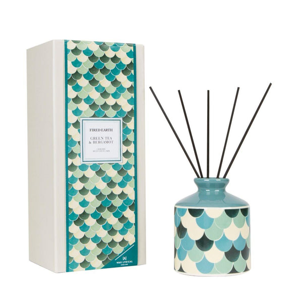 Fired Earth Green Tea & Bergamot Ceramic Reed Diffuser Set 200ml by Wax Lyrical - Caths Direct