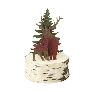 Metal Red Deer & Christmas Tree Rustic Christmas Tealight Holder - Caths Direct