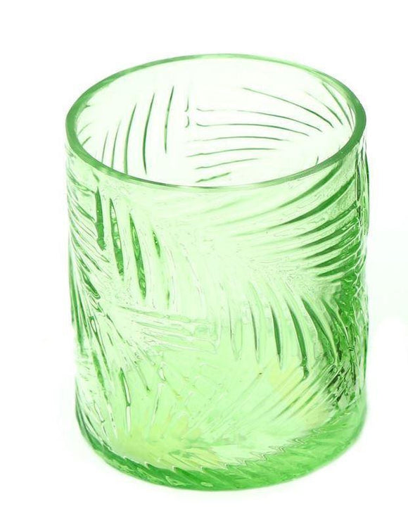 Tropical Leaf Pattern Glass Candle Holder Light Green - Caths Direct