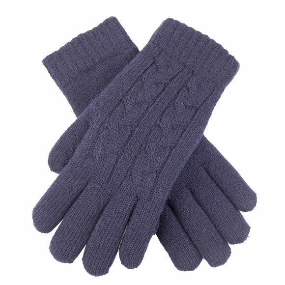 Dents Cable Knit Fleece Lined Ladies Gloves Navy - Caths Direct