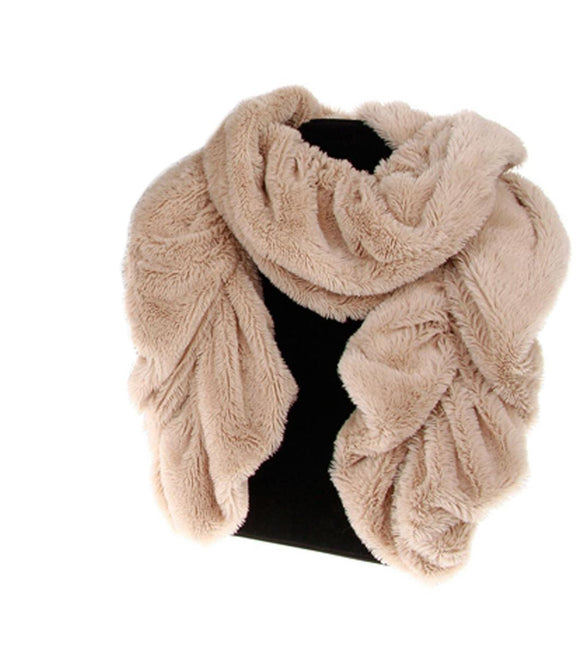 Faux Fur Ruched Scarf Beige