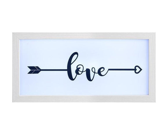 Light Up Framed Box 'Love' in An Arrow Design Sign