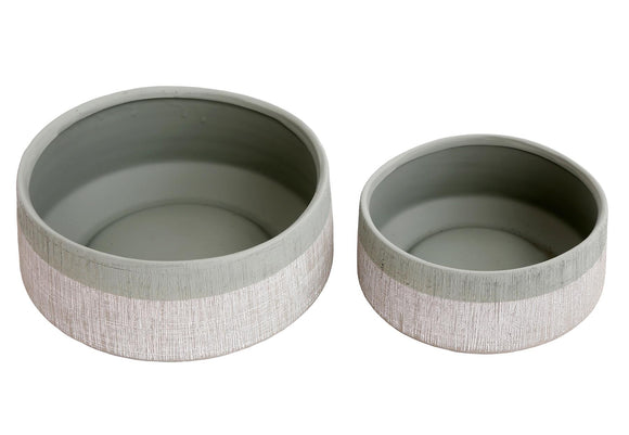 Eucalyptus Collection Set of 2 Short Round Pots - Caths Direct