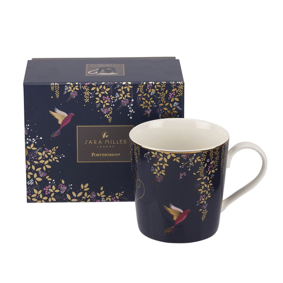 Portmeirion Sara Miller Chelsea Collection Navy Boxed Mug - Caths Direct