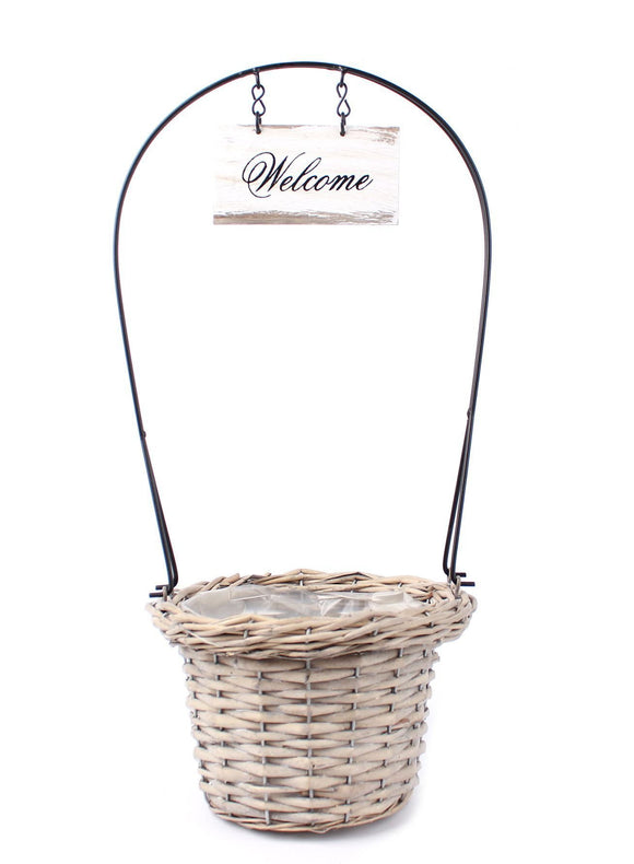 40cm Basket Garden Planter 'Welcome'