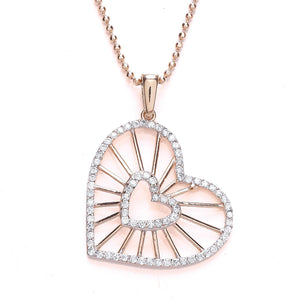 Rose Gold Plated CZ Heart Pendant Necklace - Caths Direct