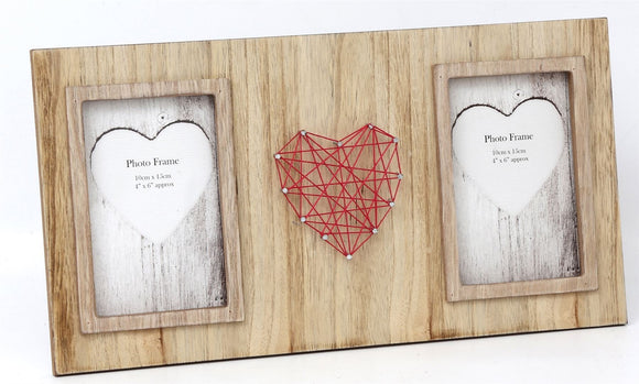 Dual Wooden Effect String Heart Photo Frame Hanging Or Freestanding - Caths Direct