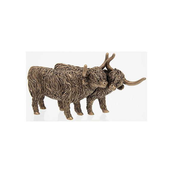 Large Bronze Effect Highland Cow Pair Standing Figurine