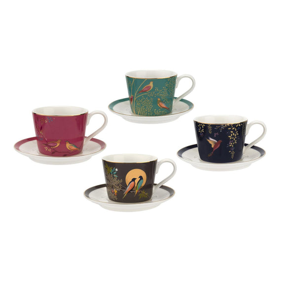 Sara Miller London Chelsea Collection 4 fl oz Espresso Cups & Saucers Set of 4 - Caths Direct