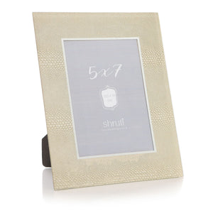 Gold Snakeskin Texture Effect & Mirror Glass Photo Frame 5X7 - Caths Direct