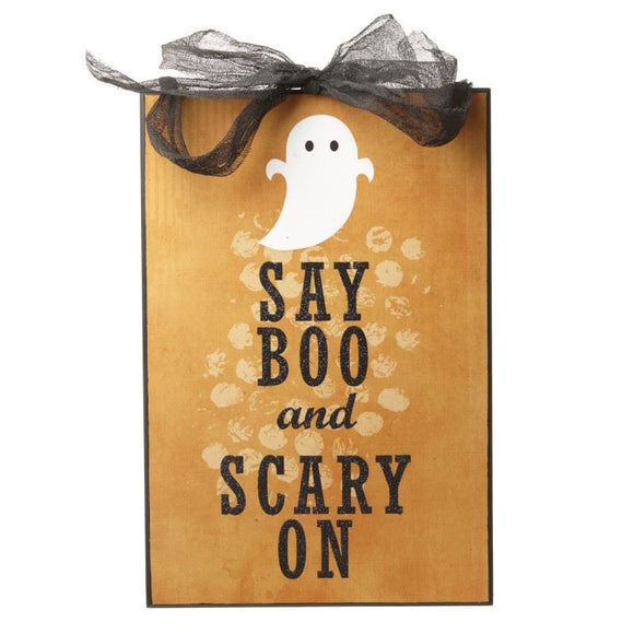 Say Boo Halloween Sign - Caths Direct