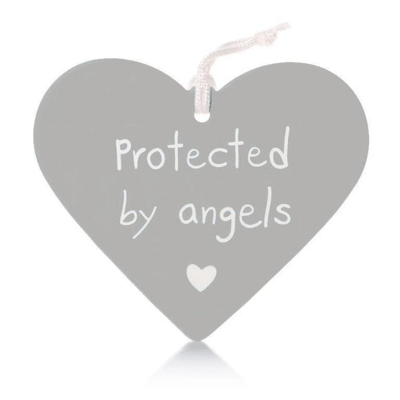 Protected by Angels Grey Ceramic Heart Wall Hanging - Caths Direct