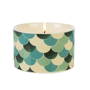 Fired Earth Design Medium Ceramic Candle Green Tea & Bergamot - Caths Direct