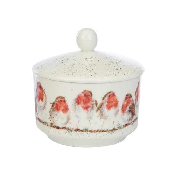 Wax Lyrical British Wrendale Robins Ceramic Trinket Jar Candle Winter Wonderland