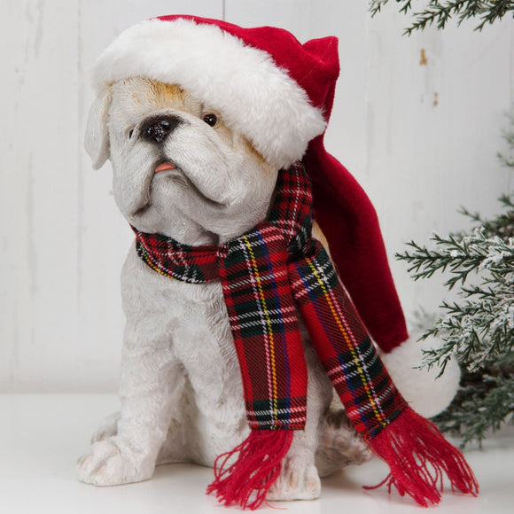 Christmas Bulldog Figurine with Scarf - Caths Direct