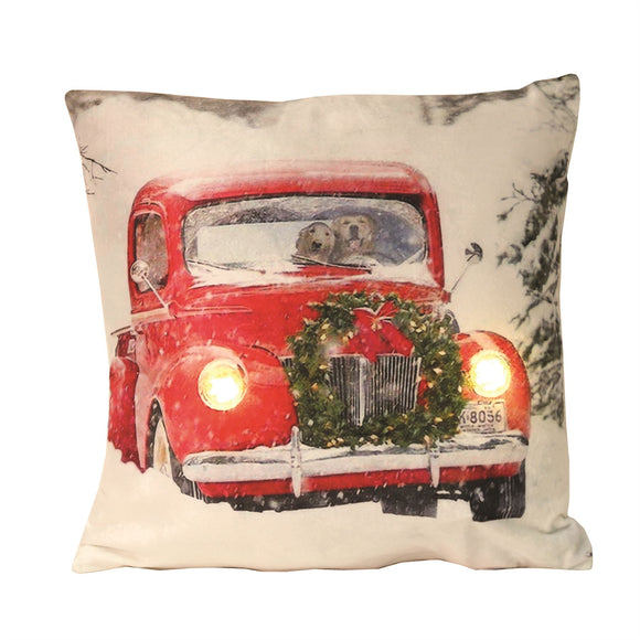 Festive LED Square Cushion Red Car with Dogs - Caths Direct