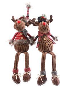 Sitting Reindeer with Dangly Legs Choice of 2 Designs - Caths Direct