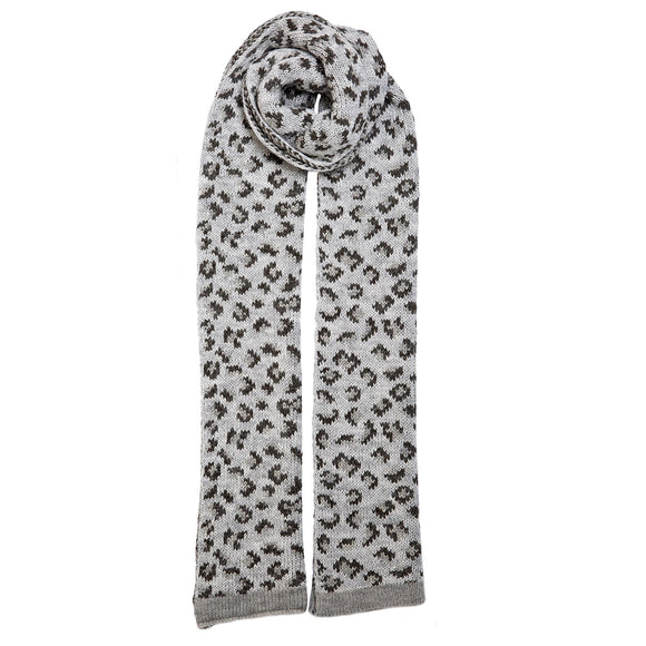 Dents Dove Grey Animal Print Knitted Scarf - Caths Direct