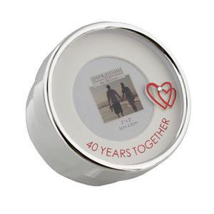 Silver Plated Photo Trinket Box Anniversary 40 Years - Caths Direct