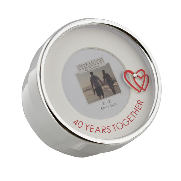 Silver Plated Photo Trinket Box Anniversary 40 Years