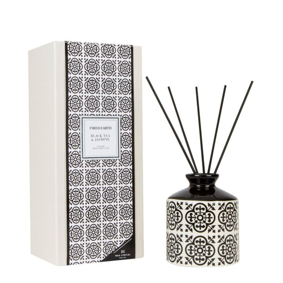 Fired Earth Black Tea & Jasmine Ceramic Reed Diffuser Set 200ml by Wax Lyrical - Caths Direct