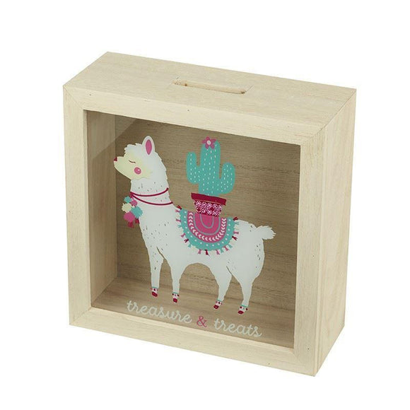Treasure & Treats Llama Design Wooden Money Box - Caths Direct