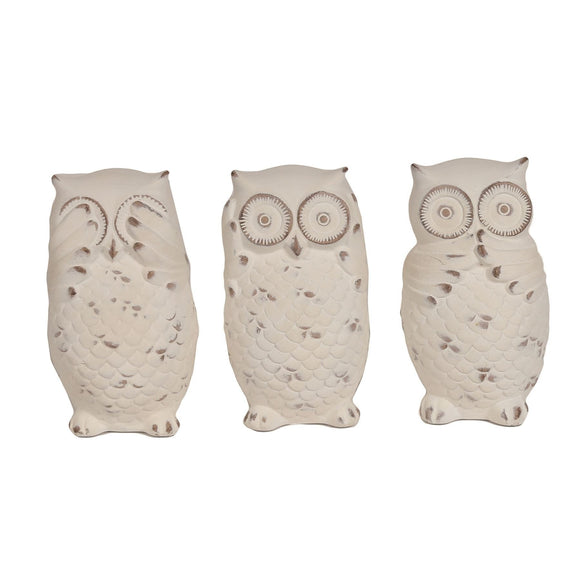 Trio of Owl Figurines See, Hear & Speak No Evil