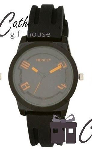 Henley Youth's Watch Black with Orange Detail - Caths Direct