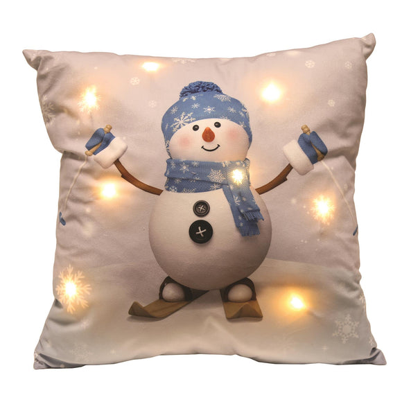 LED Snowman Christmas Cushion 45cm