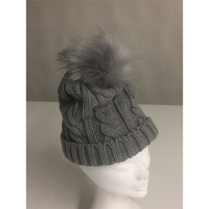 Carla Cable Knit Pom Pom Hat Grey - Caths Direct