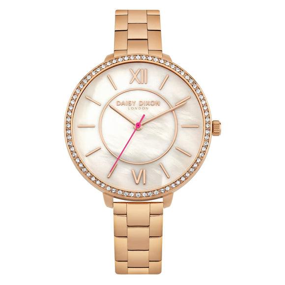 Daisy Dixon Becca Ladies Rose Gold Tone Bracelet Watch Stone Set Bezel - Caths Direct