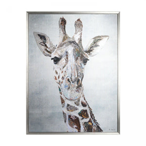 Gorgeous George - Giraffe Picture Framed Silver Canvas 84cm x 64cm - Caths Direct