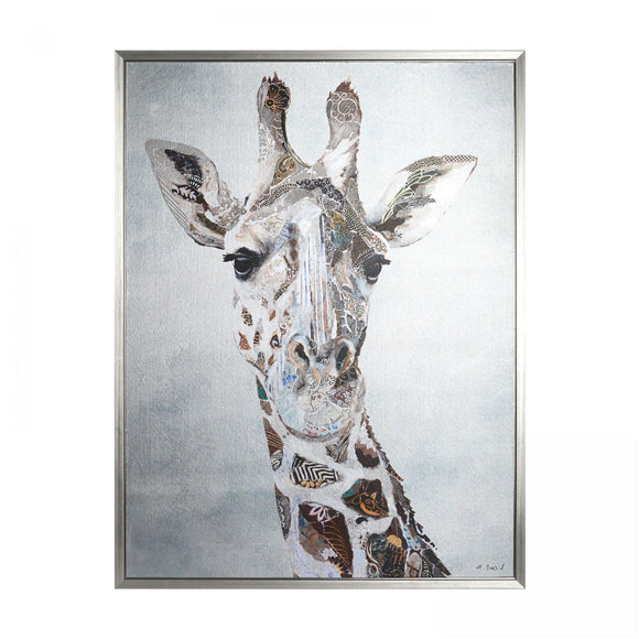 Gorgeous George - Giraffe Picture Framed Silver Canvas 84cm x 64cm