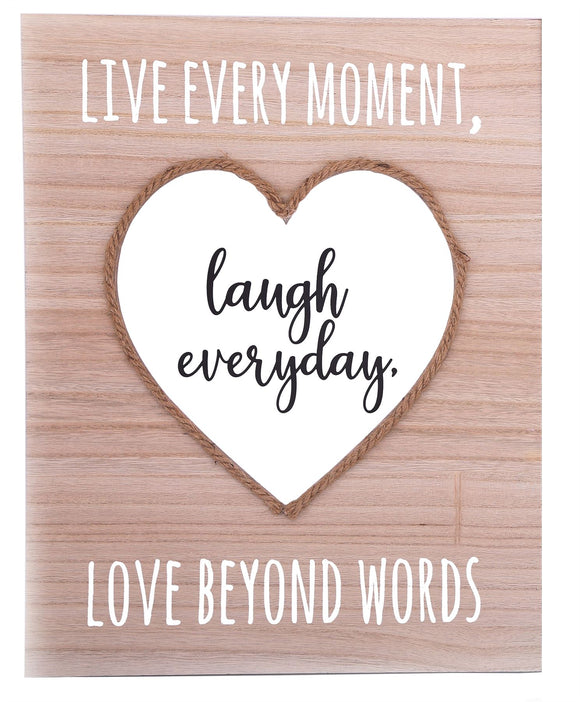 Hanging Wall Plaque Live Every Day Heart Design - Caths Direct