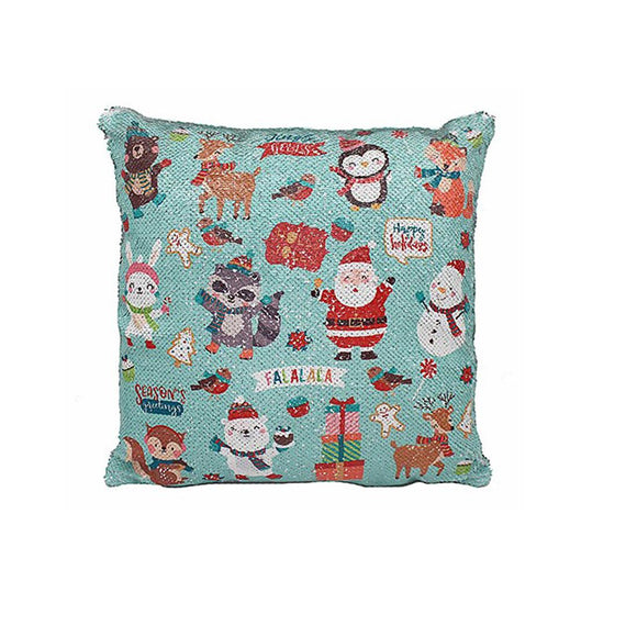 Christmas Friends Sequin Design Cushion - Caths Direct
