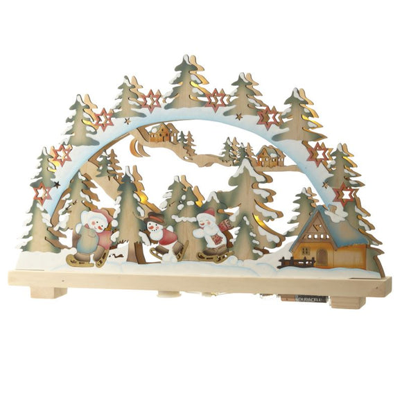 Christmas Scene Wooden Bridge Light Decoration LED - Caths Direct