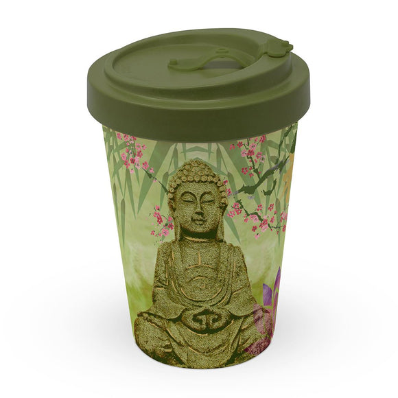 Keep Calm Buddha Design Eco Friendly Bamboo Travel Mug - Caths Direct