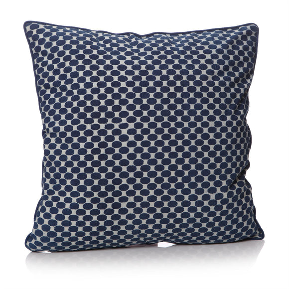 Indigo Ink Dyed Dots Design Square Cushion - Caths Direct