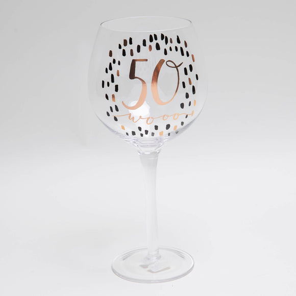 Luxe 50th Birthday Gin Glass with Rose Gold Foil - Caths Direct