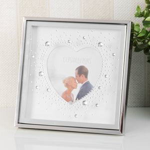 "Celebrations Heart Box Frame With Crystals 4"" x 4"" - Caths Direct"